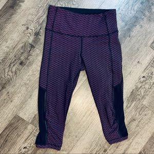 Lululemon Purple Cropped Athletic Leggings W/Mesh